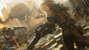 r169_457x256_15375_Town_fight_2d_sci_fi_robot_girl_woman_ruins_battle_fight_soldiers_picture_image_digital_art